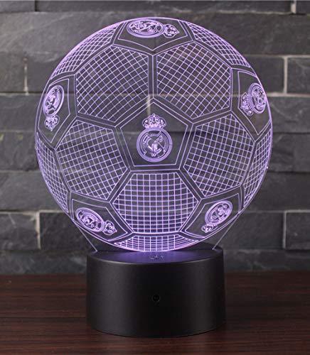 3D Lámpara de Escritorio Win-Y LED 7 del tacto del color de la lámpara del dormitorio del hogar decoración de la oficina para los niños y regalo de Navidad de cumpleaños (Fútbol Real Madrid 2)