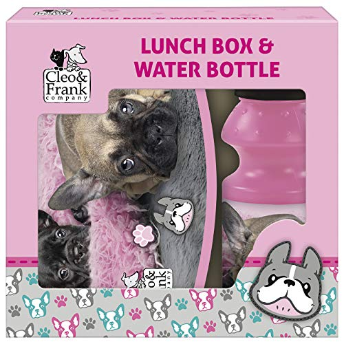 Cleo & Frank Hunde Pausenset Lunchbox Brotdose + Trinkflasche Brotzeit-Set Kinder Watter Bottle