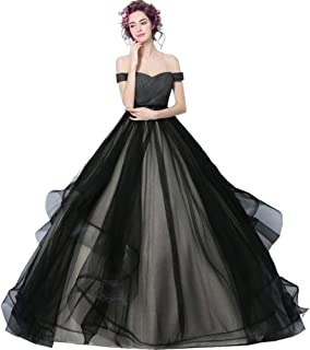 Black Dresses for Women, Elegant Vintage Tulle Long Black Dresses for Women, Prom Dresses Wedding Dresses Black Womens Dress for Christmas Costumes Sexy Dress Christmas Costume Ball Gown