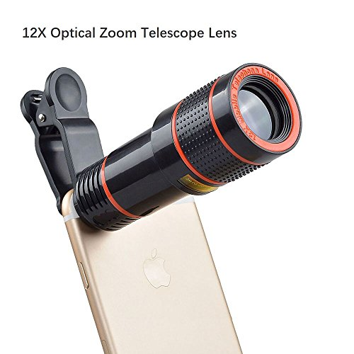 Godefa Cell Phone Camera Lens, 12X Zoom Telephoto Universal Clip On Lens Kit for iPhone 7/6S/6 Plus/5/4,Samsung, Android and Other Phones