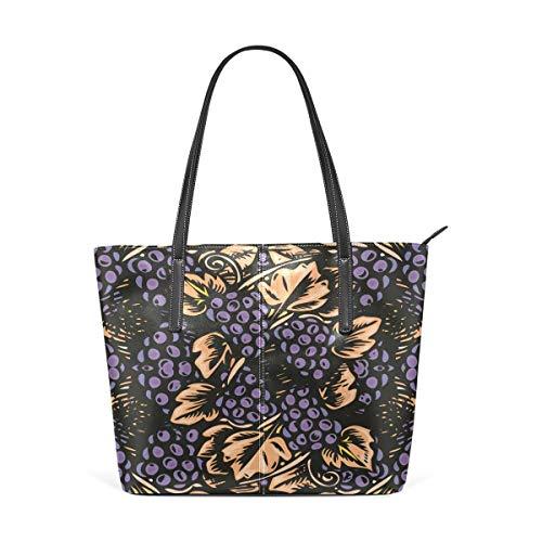 XGBags Custom Borsa a tracolla in pelle PU da donna Grapes Print Purse PU Leather Shoulder Tote Bag Purse for Womens Girls Ladies