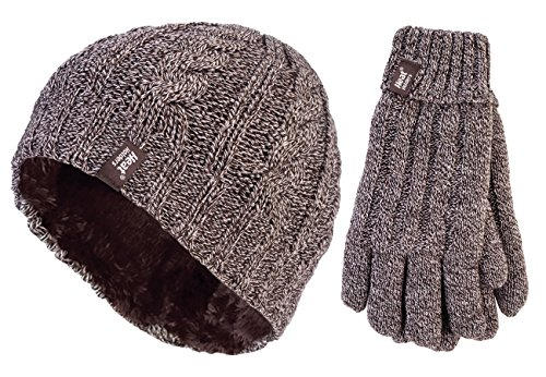 Heat Holders - Ladies thermal winter outdoor fleece insulated hat and gloves set in 7 colors (M/L, Fawn)