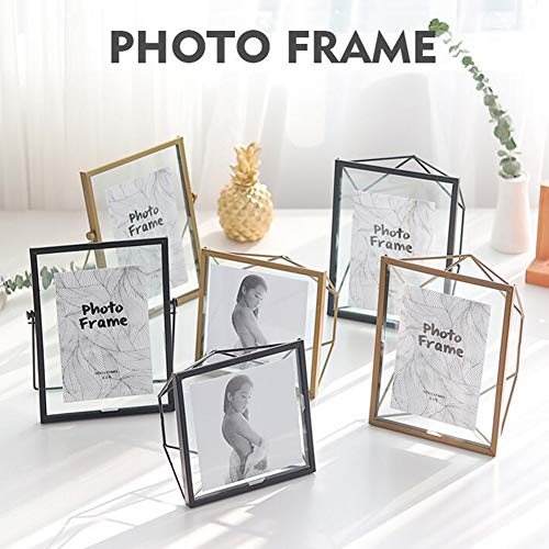 XuBa 6 inch eenvoudig modern metalen glazen fotolijstje met beugel voor decoratie originaliteit
