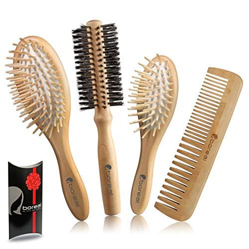 Set brosse cheveux pinceau bois naturel constitué de: brosse pneumatique gros model, brosse pneumatique petite pour pochette, une brosse rouleau à poils de diamètre 57 mm, peigne.