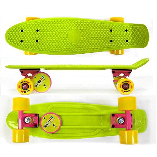 MAXOfit® Mini Cruiser Retro Skateboard California, 55 cm mit ABEC 9 Kugellagern, sehr Gute Verarbeitung