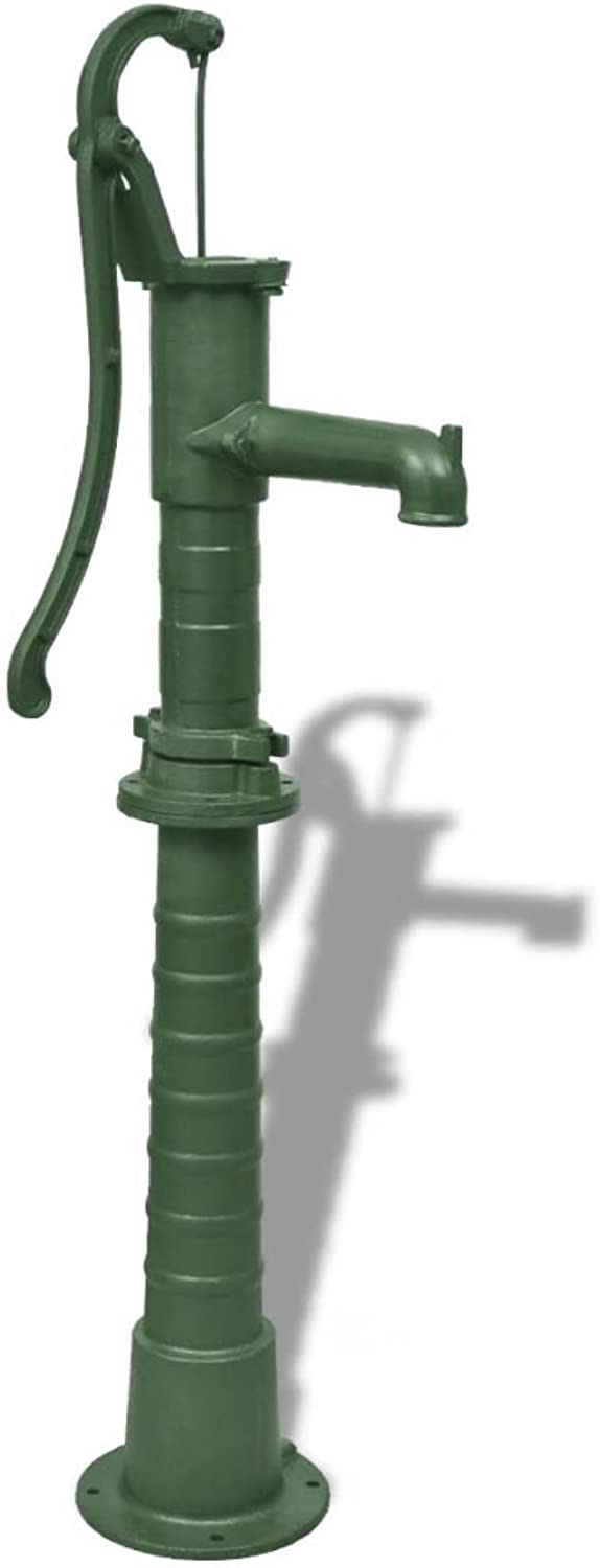 Retrome Cast Iron Water Aspirator, Garden Hand Water Pump with Stand 65 x 40 x 15 cm Green,for Outdoor Well Farm Irrigation Ornament,Garden,Pond Pool, Solar Powered Water Feature