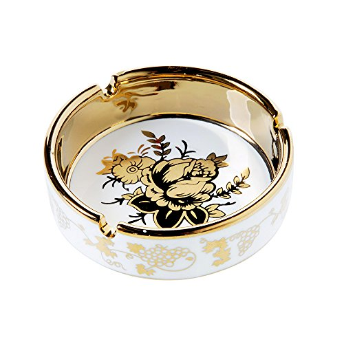 YOSCO 4'' Ceramic Titanium Plating Tabletop Ashtray,Cigarette Ashtray for Indoor or Outdoor Use, Desktop Smoking Ash Tray for Home Office Decoration (4''-1 PACK)