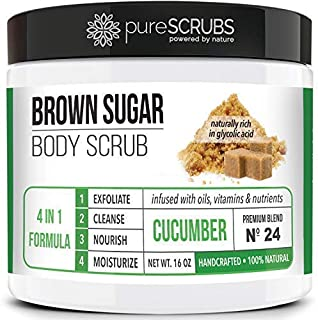 pureSCRUBS Premium Organic Brown Sugar CUCUMBER FACE & BODY SCRUB Set - Large 16oz, Infused With Organic Essential Oils & Nutrients + FREE Wooden Spoon, Loofah & Mini Exfoliating Bar Soap