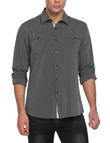 Coofandy Men's wrinkle-free Classic Vertical Striped Long sleeve Dress Shirts, Black, Medium