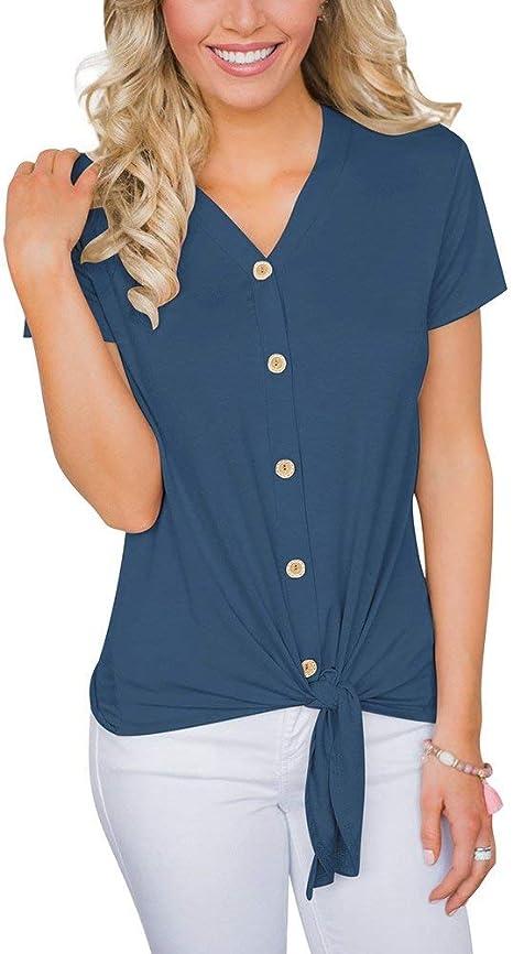 Camiseta De Mujer En Blusa Cuello V Estilo con Simple De ...