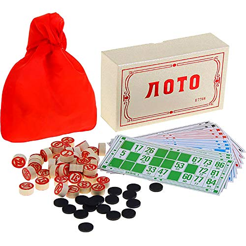 Russian Lotto Family Board Games - Russian Bingo Games for Family - Tambola Kit of Wood Barrels...