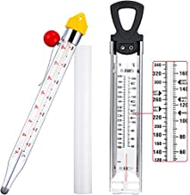 2 Pieces Stainless Steel Candy Syrup Jam Jelly Deep Fry Thermometer Classic Kitchen Cooking Thermometer Confection Glass Thermometer for Food