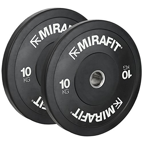 Mirafit Black Olympic Rubber Bumper Plates - Choice of Size