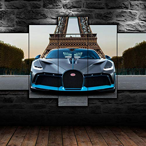 VYQDTNR - 5 Panel Wall Decor Oil Painting Canvas 3D Abstract Paintings Bugatti Divo Paris Fast Car Modern Home Decor Wall Art for Living Room Framed Ready to Hang