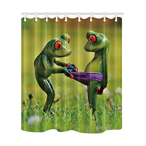NYMB Duschvorhang mit Tiermotiven & Frosch-Motiv, wasserdicht, 175 x 178 cm, schimmelresistent, Polyester-Stoff, Dekoration für Badezimmer, Haken im Lieferumfang enthalten
