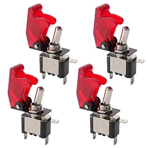 FULARR 4Pcs Professionale Auto Interruttore a Levetta, con Rosso LED Indicatore Rossa Impermeabile Copertura, ON-OFF 2 Posizione 3 Pin SPST Interruttore a Bilanciere, per Auto Camion Barca (20A/12VDC)
