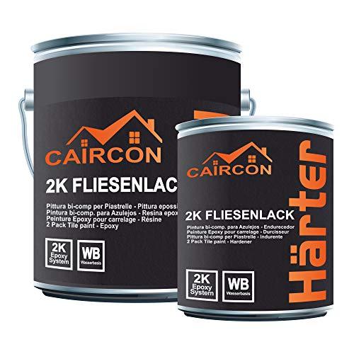 CAIRCON 2K Fliesenlack | Reinweiss | Fliesenfarbe für Küche Badezimmer Wandfliesen Bodenfliesen etc. 2,5Kg
