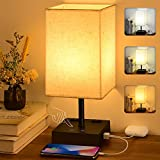 3-Color Touch Control Table Lamp, Comzler Dimmable Bedside Lamp with 2 USB Ports and 2 AC Oulets, Nightstand Lamp with Black Base, Bedroom Lamp with Beige Lamp Shape, Bulb Included