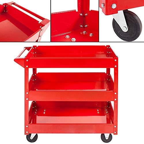 3 Tier Tool Cart Heavy Duty Wheel Storage Shelf Rack Garage Workshop...