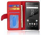 Cadorabo Hülle für Sony Xperia Z5 Compact in Inferno ROT – Handyhülle mit Magnetverschluss & 3 Kartenfächern – Hülle Cover Schutzhülle Etui Tasche Book Klapp Style