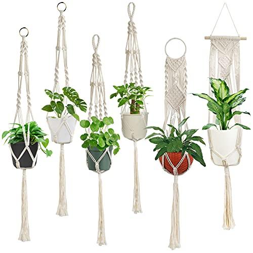 Macrame Plant Hangers, Laerjin Set of 6 Handmade Hanging Plant Holder Basket Stand Decorative Flower...