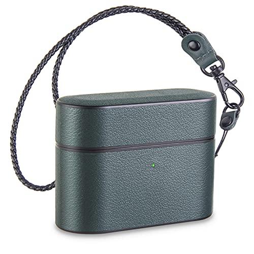 Pevfeciy Airpod Pro - Funda de piel para Apple Airpods Pro con llavero, LED frontal visible, soporte de cargadores inalámbricos, color verde