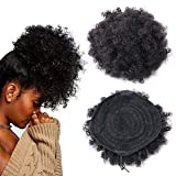 fani Human Hair Afro Puff Ponytail Drawstring Afro Kinky Curly Ponytail Hair Extension African American HairPieces with Clips (Black)