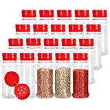 Kingrol Paquete de 20 tarros de especias de plástico de 7 onzas con tapas de tamiz rojo, tarros de...