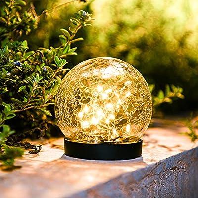 Amazon - 40% Off on Outdoor Lights Solar Garden Ball Lamp Crackle Glass Globe Stake Lights