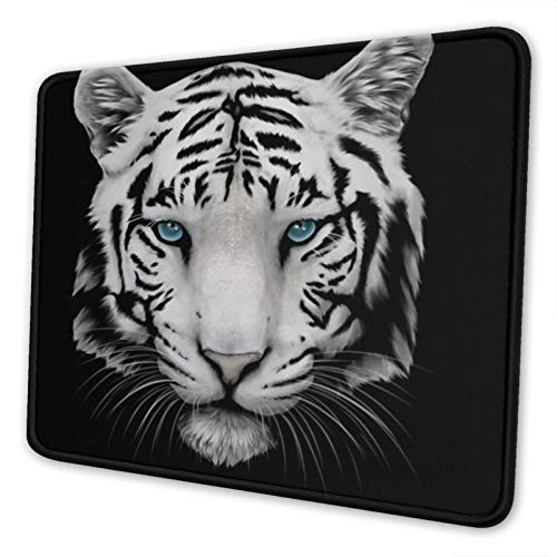 Large Gaming Mousepad for Laptop,Mouse Pads with Cute Design White Tiger ,Mouse Mat with Stitched Edge, Waterproof, Non-Slip Rubber Base for Office Computer PC,10 x 12 inch