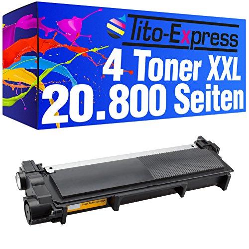 Tito-Express Platinum Serie 4 Toner cartridges Super-XL compatibel met Brother TN2320 HL-L2300 HL-L2300D HL-L2320D HL-L2321D HL-L2340DW HL-L2360DN HL-L2360DW HL-L2361DN HL-L2365DW   5.200 pagina's