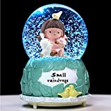 Gifts for Girls,80 MM Bunny Snow Globes with Musical and LED Lights,Funny Unique Birthday Christmas Party Favor Gifts for Age 3-15 Years Old Girls Boys Granddaughters Babies (3.14 x 4.72 Inch)