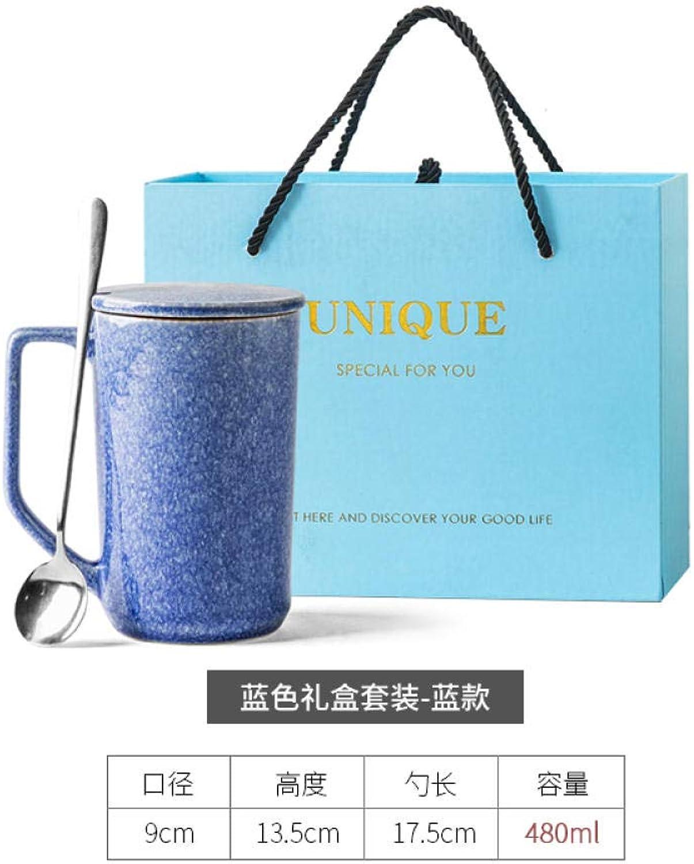 MK MUG Tasse en Céramique Faite Main avec Couvercle Cuillère Grande Capacité Tasse à Café Tasse à Lait - Costume Bleu + Boîte-Cadeau Bleue