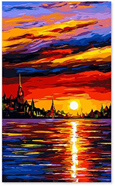 Agolong Digitale Malerei Selbstporträt gemalt Farbe füllen handgemachte Geschenk Dekoration Alles läuft reibungslos. Segeln Mit Rahmen 40x50cm B07MG5QTYM | Schön In Der Farbe