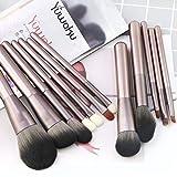Juego de brochas de maquillaje, 12 brochas de maquillaje profesionales para base de maquillaje Kabuki en polvo, colorete y sombra de ojos con bolsa de poliéster