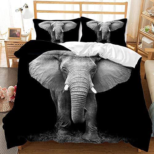 Bedclothes-Blanket Copripiumino Estivo,Biancheria da Letto Digitale 3D Set di Tre Pezzi di Elefanti Animali-4_175 * 218 cm.