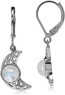 Natural Moonstone 925 Sterling Silver Filigree Crescent Moon Leverback Dangle Earrings