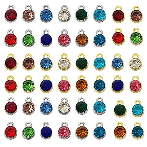 48 Piezas de AleacióN de Plata Dorada, Piedra Natal, Encantos de Cristal, Accesorios para Collar, Pulsera, FabricacióN de Joyas