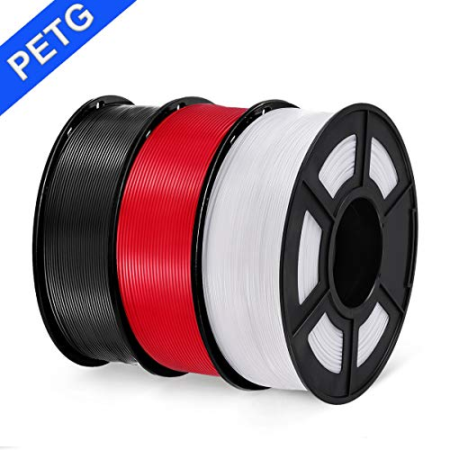 PETG 3D Printer Filament, SUNLU PETG Filament 1.75mm Dimensional Accuracy +/- 0.02 mm, 1 kg Spool, PETG Black + Red + White