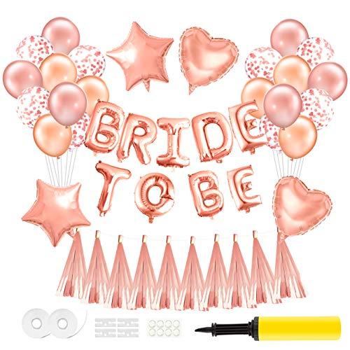 TUPARKA Bride To Be Balloons Foil Balloon Letters Banner Rose Gold Balloons Foiled Tassel Guirnalda Hen Party Decoración Suministros con Bomba de Aire
