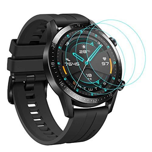 CAVN Panzerglas Kompatibel mit Huawei Watch GT 2 46mm Schutzfolie [3-Stück], (Nicht für GT) Wasserdichtes gehärtetes Glas Anti-Scratch Anti-Bubble Bildschirmschutzfolie Schutz für GT2 46mm
