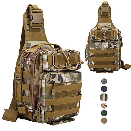 LUXHMOX Fishing Gear-Tackle-Bag Waterproof Storage Lightweight Sling Backpack-CP Camo