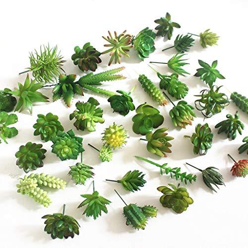 FABSELLER - 15 piezas de plantas suculentas artificiales mezcladas con flores falsas sin macetas para bricolaje en la pared del hogar o el jardín decoración (verde, envío al azar)