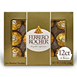 Ferrero Rocher Fine Hazelnut Milk Chocolate, 12 Count, Pack of 6 Individually Wrapped Chocolate Valentine's Day Candy Gift Boxes, 5.3 oz