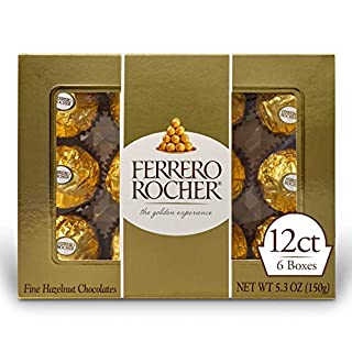 Ferrero Rocher Fine Hazelnut Milk Chocolate, 12 Count, Pack of 6 Individually Wrapped Chocolate Candy Gift Boxes, 5.3 oz (B002BXQY5O) | Amazon price tracker / tracking, Amazon price history charts, Amazon price watches, Amazon price drop alerts