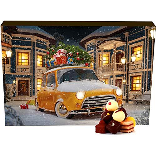 Hallingers 24 Pralinen-Adventskalender, mit/ohne Alkohol (300g) - It's Christmas (Advents-Karton) - zu Weihnachten Adventskalender