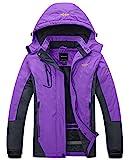 Wantdo Women's Waterproof Mountain Jacket Fleece Windproof Ski Jacket US XL  Purple X-Large