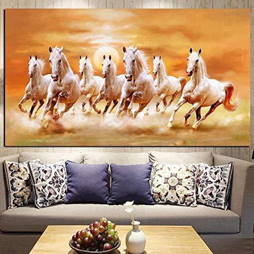 KWzEQ Siete Animales de Caballo Blanco Corriendo Que pintan murales para la decoración del hogar de la Sala de Estar,Pintura sin Marco,75x150cm