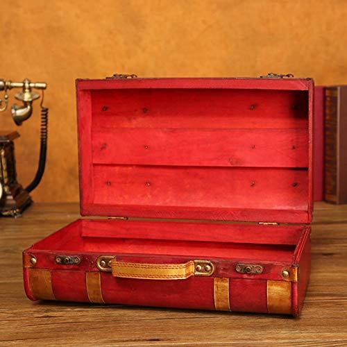 Organizador de joyería de Madera, Caja de baratija de Estilo Chino Rojo de Madera Retro, Accesorios de película de Lado Dorado, decoración del hogar para Mujeres(1622-01-Red Phnom Penh-Small)