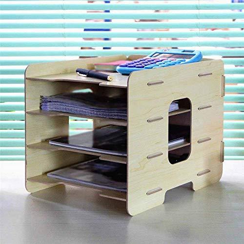 Biurko Organizator Półka Folder Bill Multi-Grid Rack Express Pojedyncza wtyczka Drewniana Półka Drewniana Pulpit Sorter Organizator Plik Rack Rack Multi-warstwowy Uchwyt Plik Plik Organisera, 33x25x2